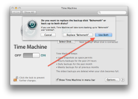 With two Time Machine drives present, you can choose how you want to backup.
