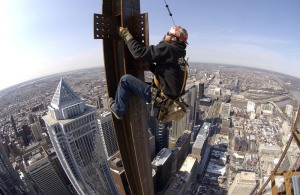 That's not me in the photo, but ... I've been there.  Ironworker Mike Kulp, 43, climbs a column before connecting a perimeter beam to the 54th floor. Here Kulp is working approximately 825 feet above street level.